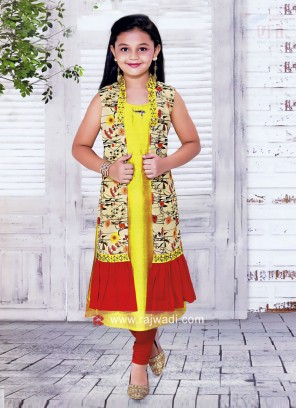 Cotton Silk Jacket Style Suit for Kids