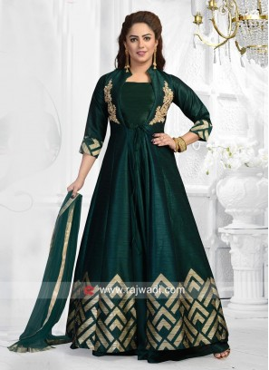 Cotton Silk Jacket Style Suit in Bottle Green