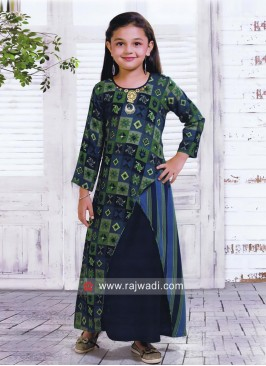 Cotton Silk Kediya Style Kurta Set for Kids