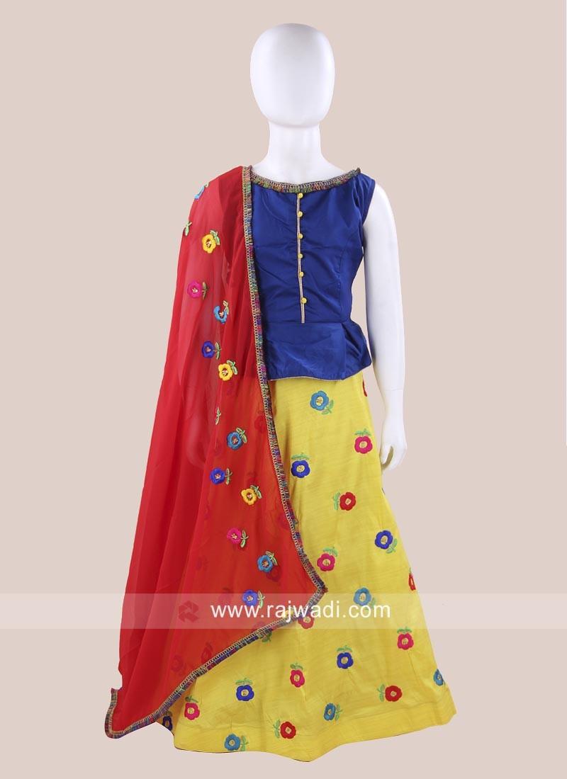 Cotton Silk Kids Chaniya Choli for Garba