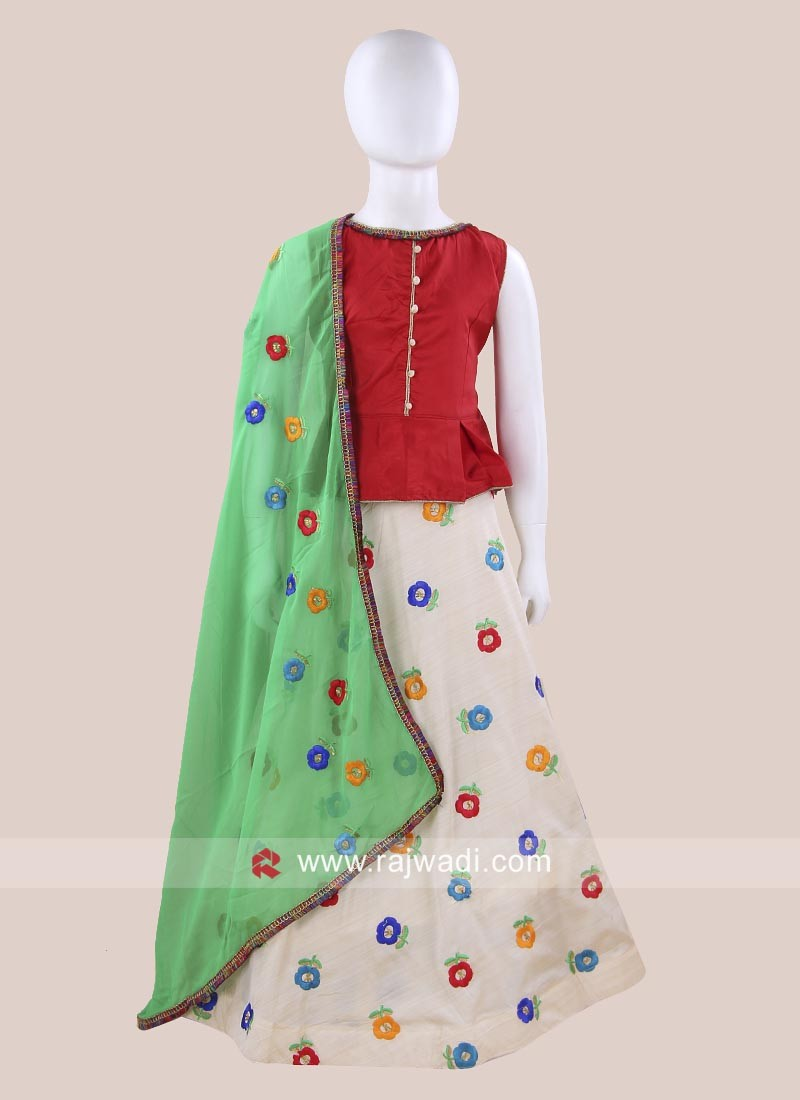 Cotton Silk Kids Chaniya Choli For Navratri