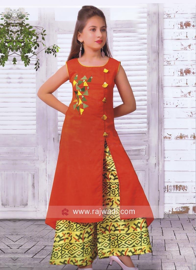 Cotton Silk Kids Palazzo Salwar Kameez