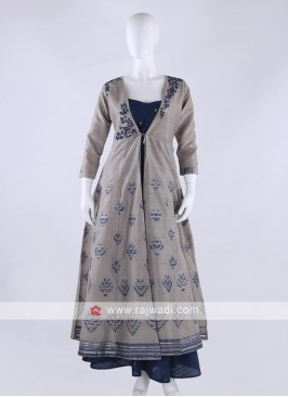 cotton silk koti style anarkali suit