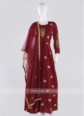 cotton silk koti style anarkali suit in crimson