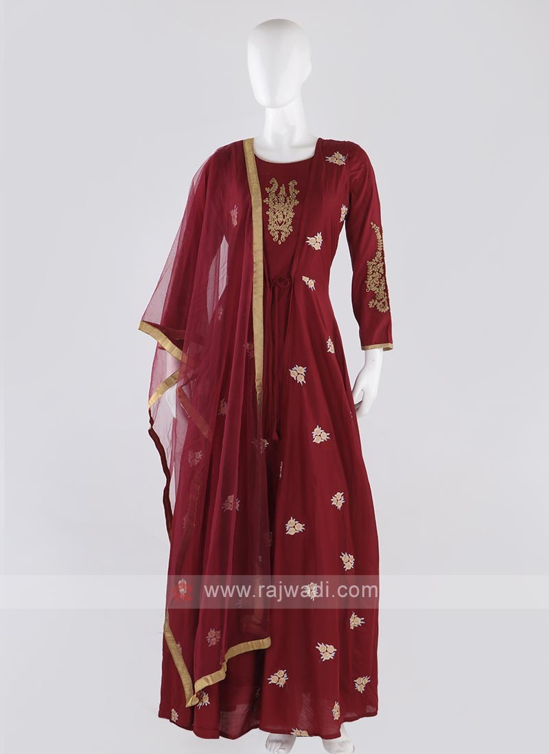 cotton silk koti style anarkali suit in crimson