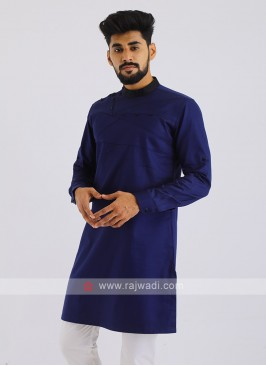 Cotton Silk Kurta In Blue