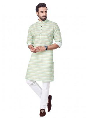 Strips Print Cotton Silk Kurta Pajama