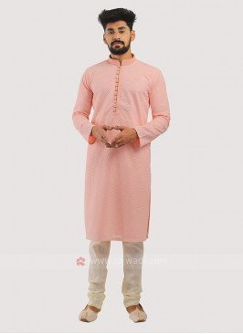 Cotton Silk Kurta Pajama In Pink