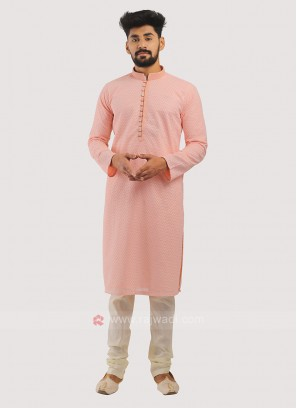 Cotton Silk Kurta Pajama In Pink