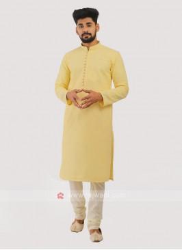 Cotton Silk Kurta Pajama In Yellow