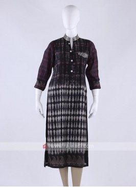 Cotton silk kurti in black color