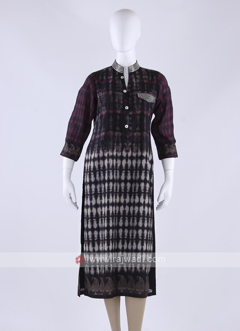 Cotton silk kurti in black color