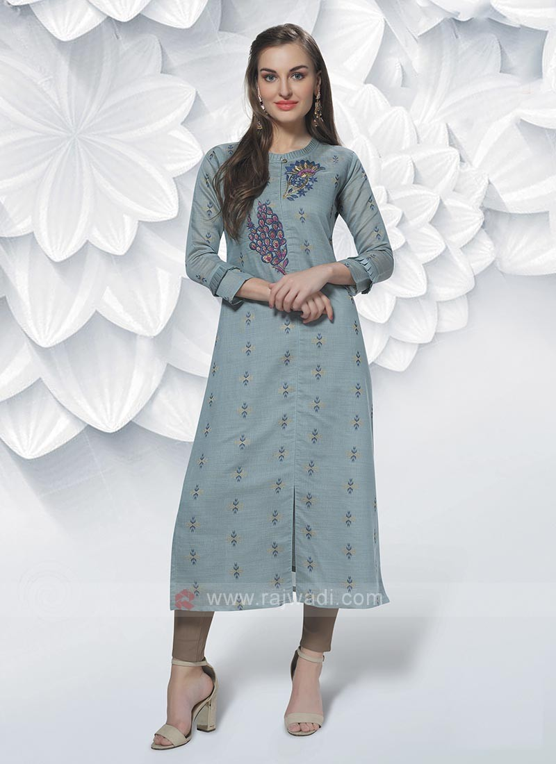 Cotton Silk Kurti In Cardet Blue
