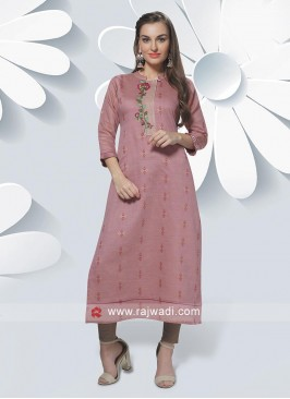 Cotton Silk Kurti In Light Peach