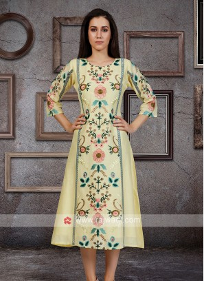 Cotton Silk Kurti In Light Yellow
