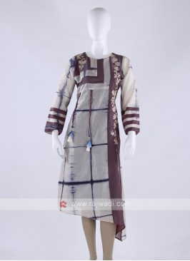 Cotton silk kurti in off white color