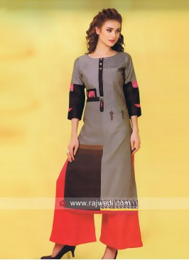 Cotton Silk Kurti with Buttons