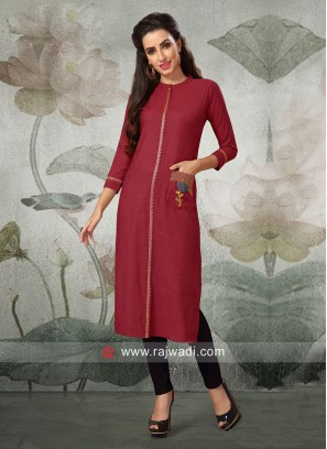 Cotton Silk Kurti with Pocket