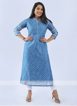 Cotton Silk Light Blue Kurti