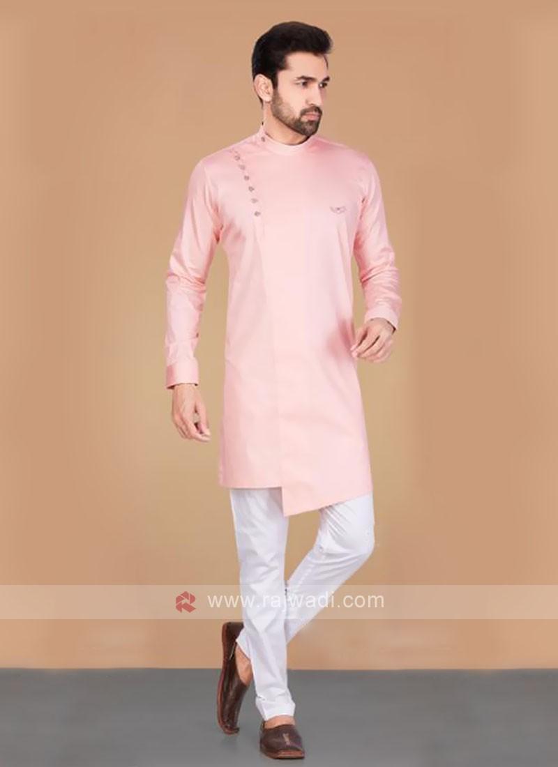 Cotton Silk Light Pink & White Kurta Pajama