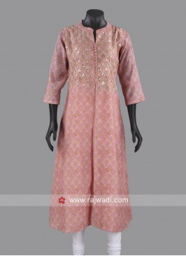 Cotton Silk Light Pink Kurti