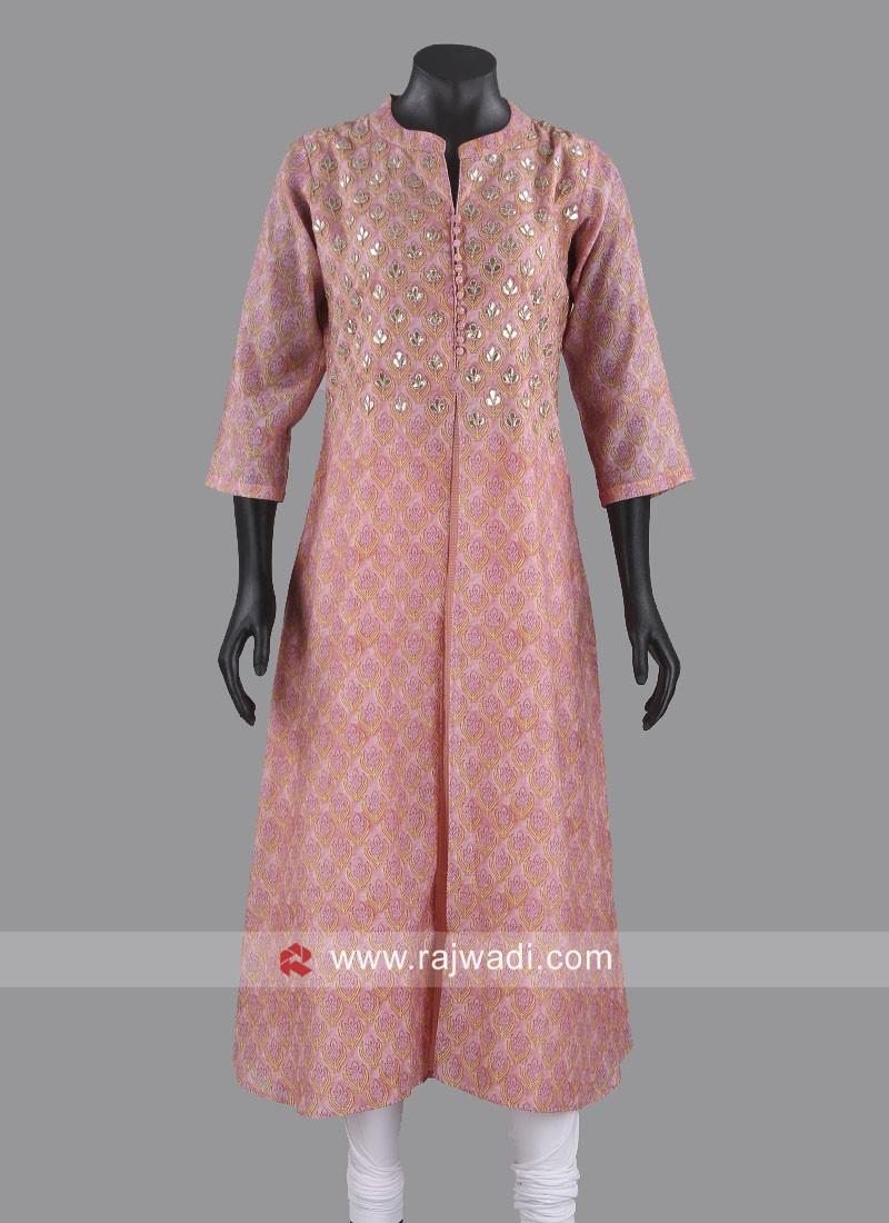 Cotton Silk Light Pink Kurti