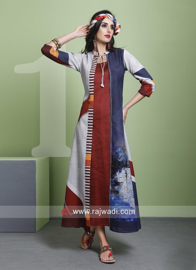 Cotton Silk Long Jacket Style Kurti