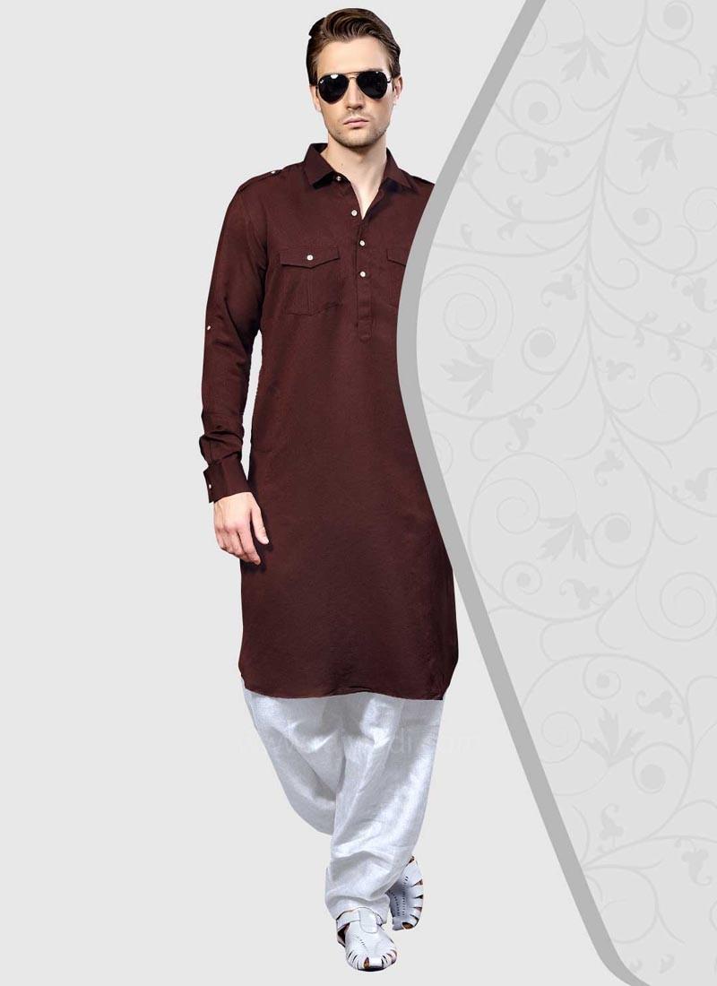 Cotton Silk Long Sleeve Pathani Suit