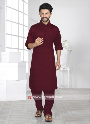 Cotton Silk Maroon Color Pathani Suit