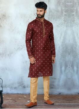 Cotton Silk Maroon Kurta Pajama
