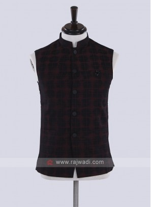 cotton silk marron and black nehru jacket