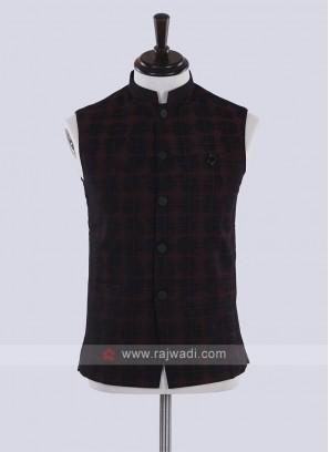 cotton silk marron and black koti