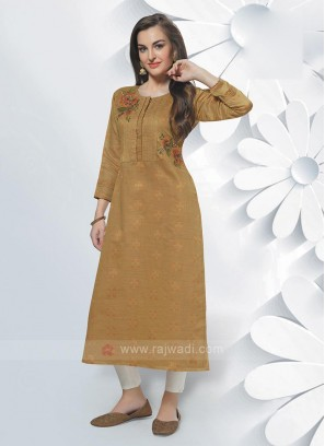 Cotton Silk Mustard Yellow Kurti