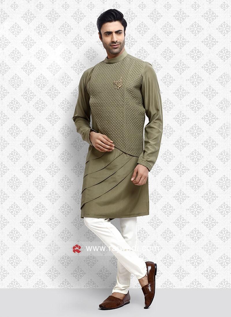 Cotton Silk Mehndi Green Kurta Pajama