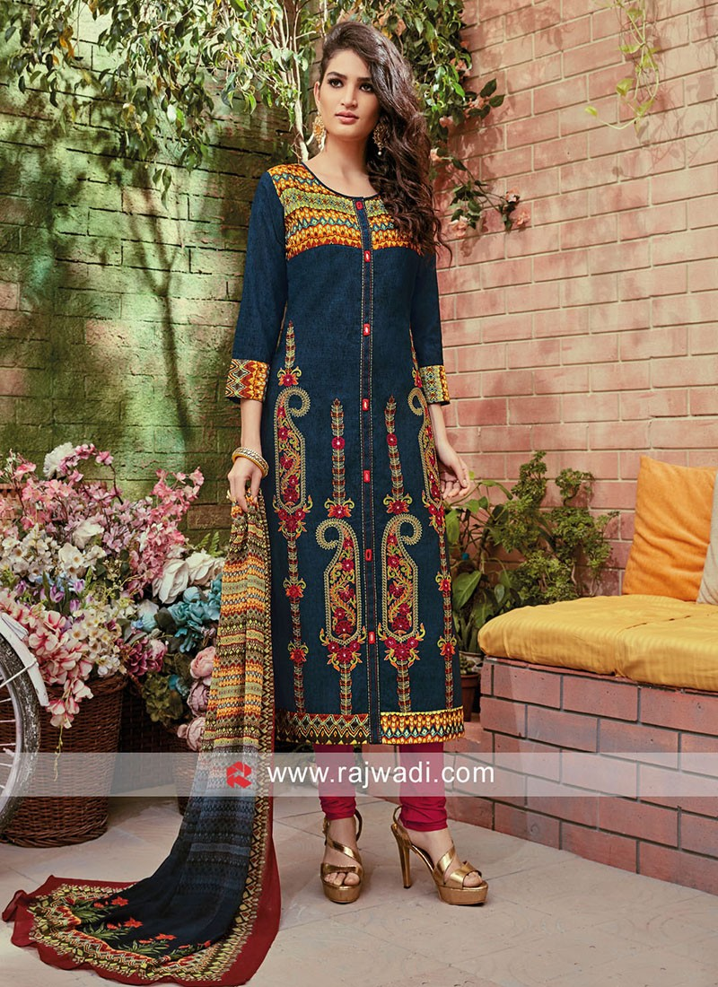 Cotton Silk Multicolor Salwar Kameez with Dupatta