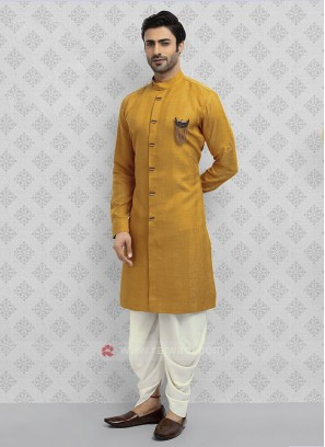 Cotton Silk Mustard Yellow Dhoti Suit