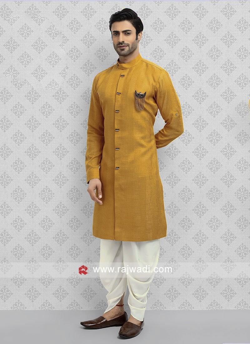 Cotton Silk Mustard Yellow Dhoti Suit