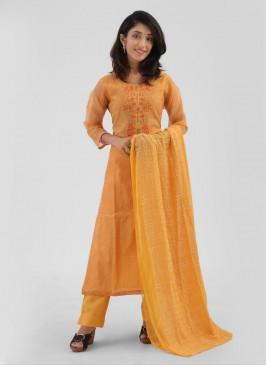 Cotton Silk Mustard Yellow Pant Style Suit
