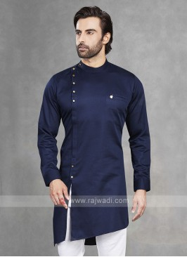 Cotton Silk Navy Blue Kurta