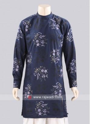 Cotton Silk Navy Kurta For Mens