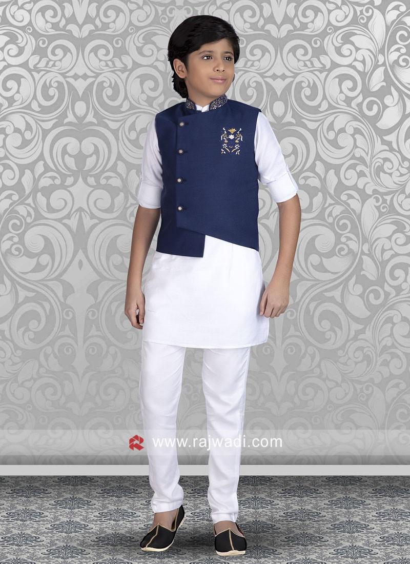 Cotton Silk Nehru Jacket For Boys