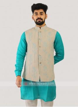 Cotton Silk Nehru Jacket In Cream