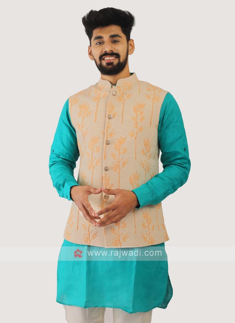 Cotton Silk Nehru Jacket In Light Orange