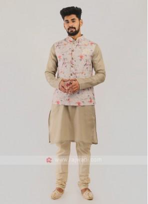 Cotton Silk Nehru Jacket Suit