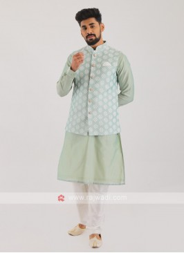 Cotton Silk Nehru Jacket Suit