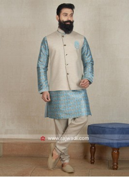 Cotton Silk Nehru Jacket with Fancy Button