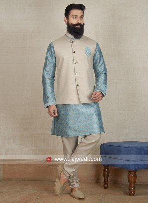 Cotton Silk Nehru Jacket with Fancy Button