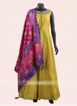 Cotton Silk Olive Anarkali Suit