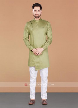 Cotton Silk Olive & White Kurta Pajama