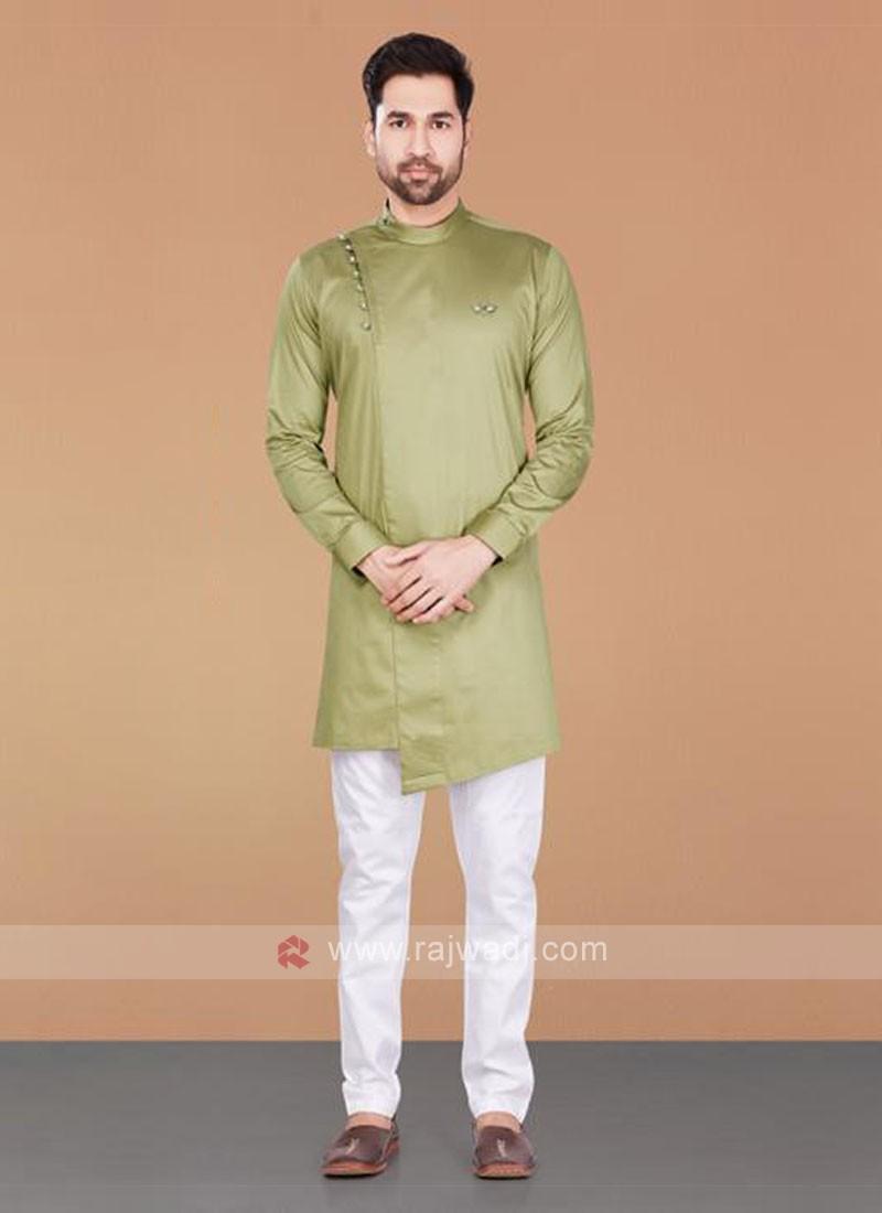 Cotton Silk Olive & White Kurta Pajama